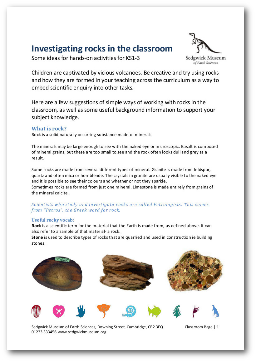Sedgwick Museum of Earth Sciences - Information sheets