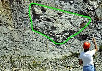 Looking at Wenlock limestone at Coates Quarry - click here to see a larger version